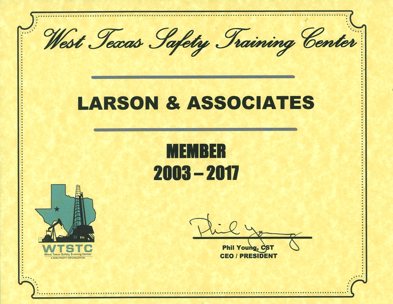 West Texas Safety Training Center Certificate