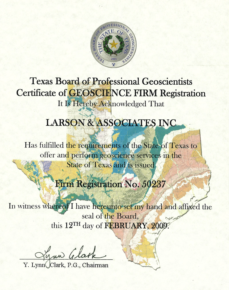 Texas Board of Professional Geoscientists Certificate